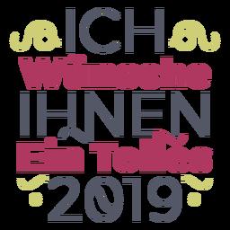 Letras Ich wünsche ihnen ein tolles 2019