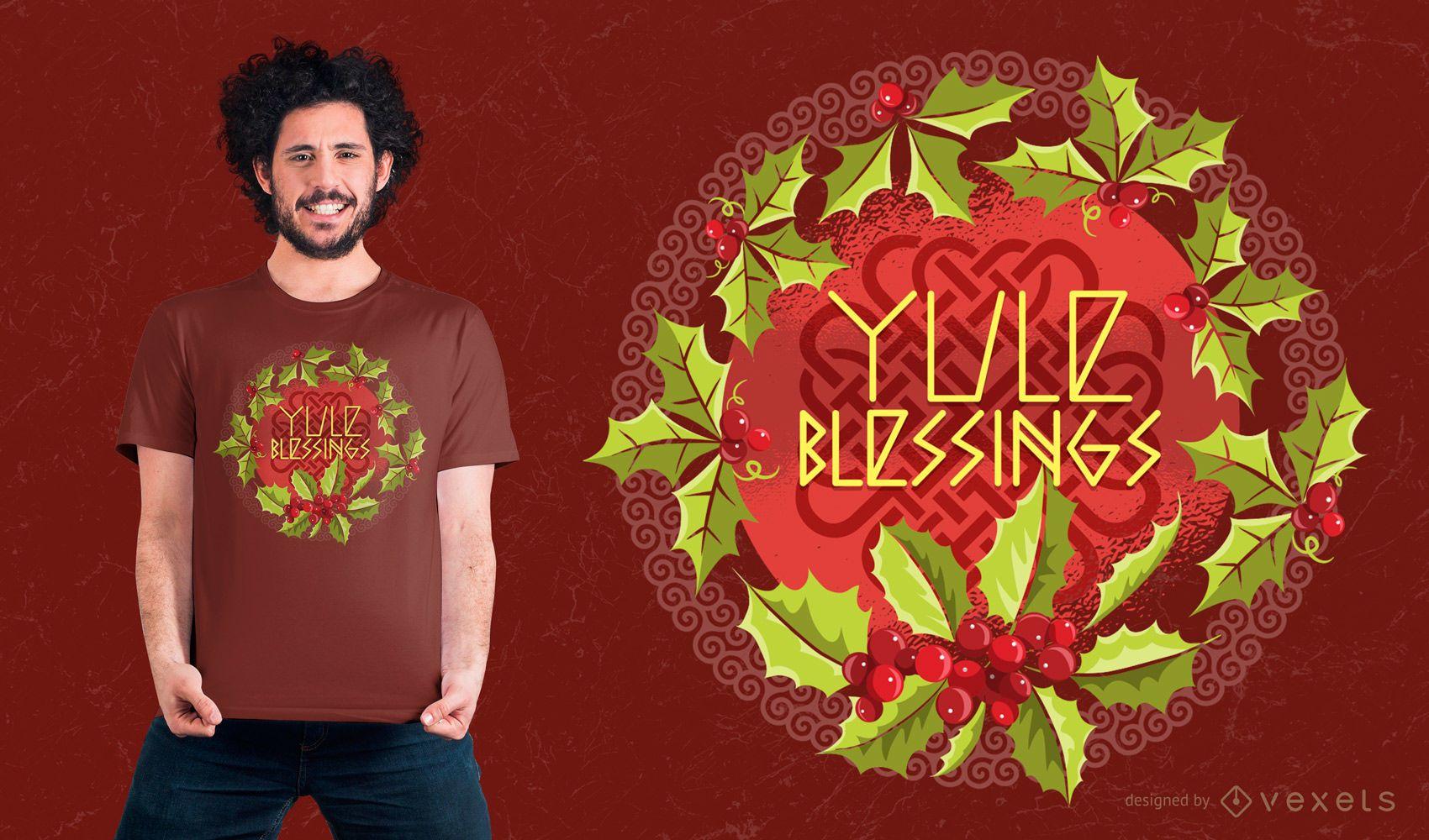 Diseño de camiseta Yule Blessings