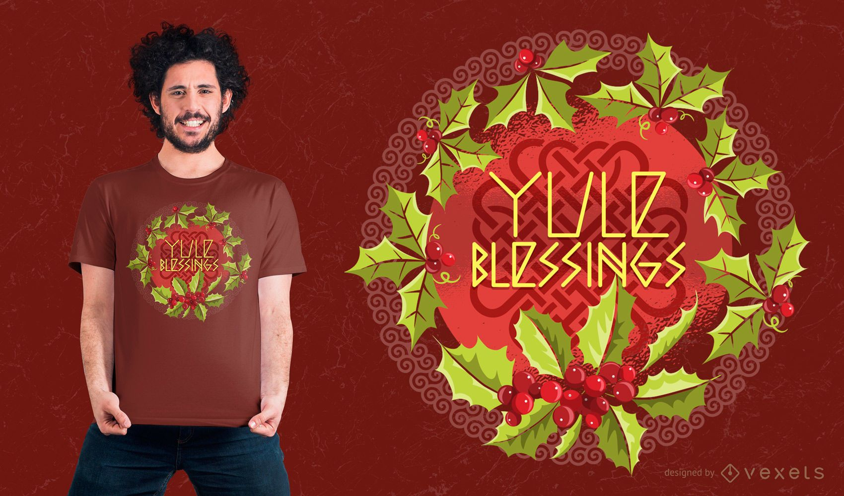 Yule Blessings T-shirt Design