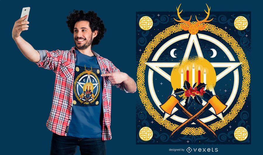 Yule Holidays T-shirt Design