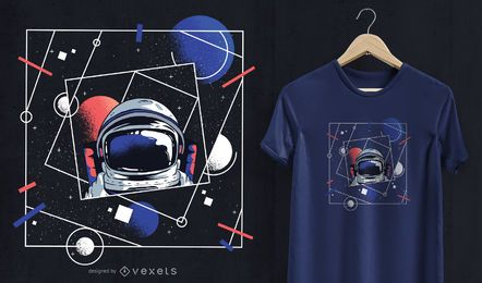 Design do t-shirt do astronauta do universo