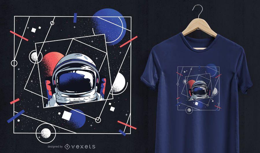 Design do t-shirt do astronauta do universo