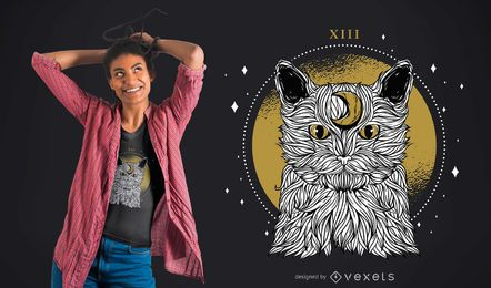 Design do t-shirt do gato da lua