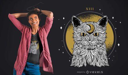 Diseño de camiseta Moon Cat