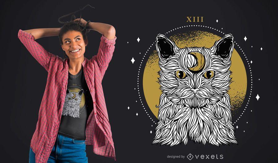 Diseño de camiseta de gato luna
