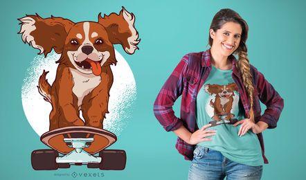 Diseño de camiseta de perro patinaje