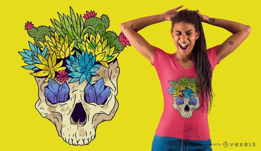 Design do t-shirt do crânio do cacto de cristal