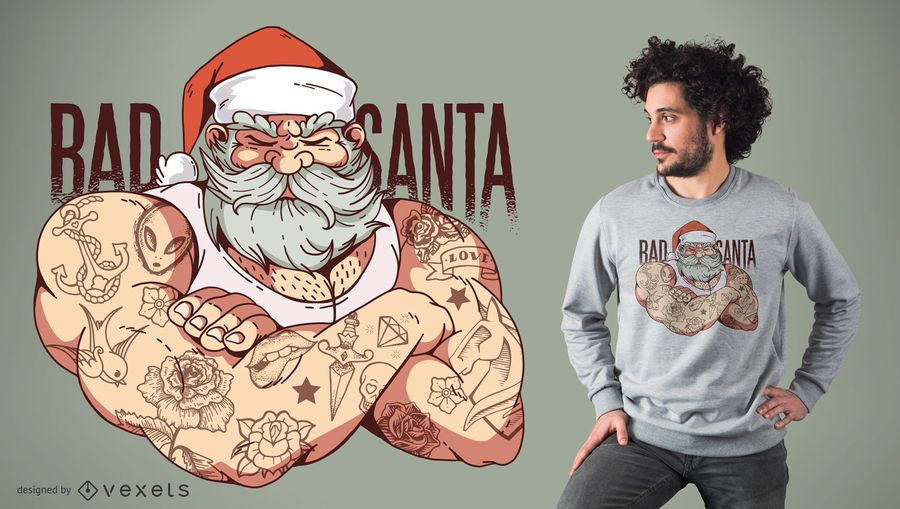 Diseño de camiseta de Bad Tattoo Santa