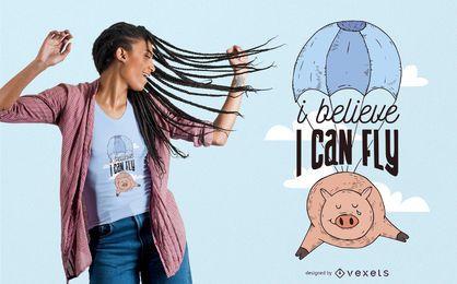 Projeto do t-shirt do porco do vôo