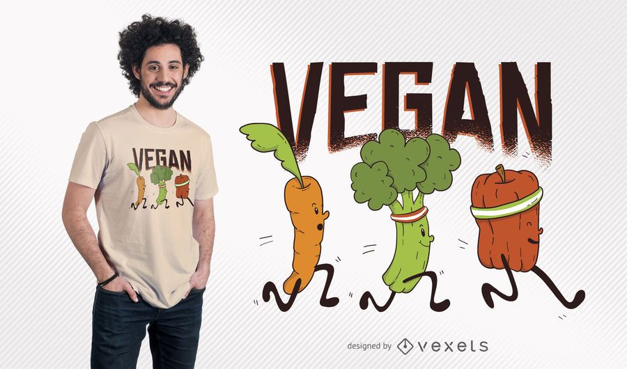 Design do t-shirt dos corredores do Vegan