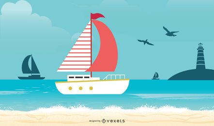 Fondo náutico del barco