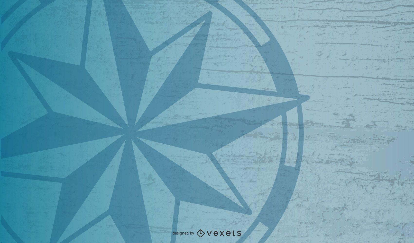 Diseño de fondo de estrella de brújula náutica