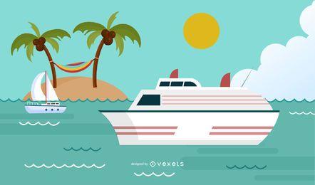 Design de fundo de vela de verão