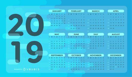 Blauer Kalenderentwurf 2019