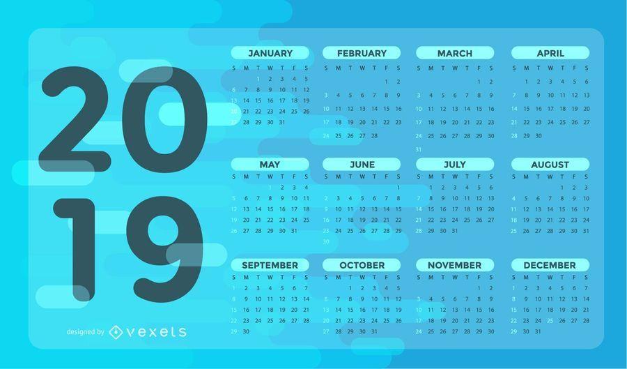 Diseño de calendario azul 2019