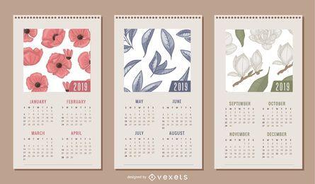 Diseño floral del calendario