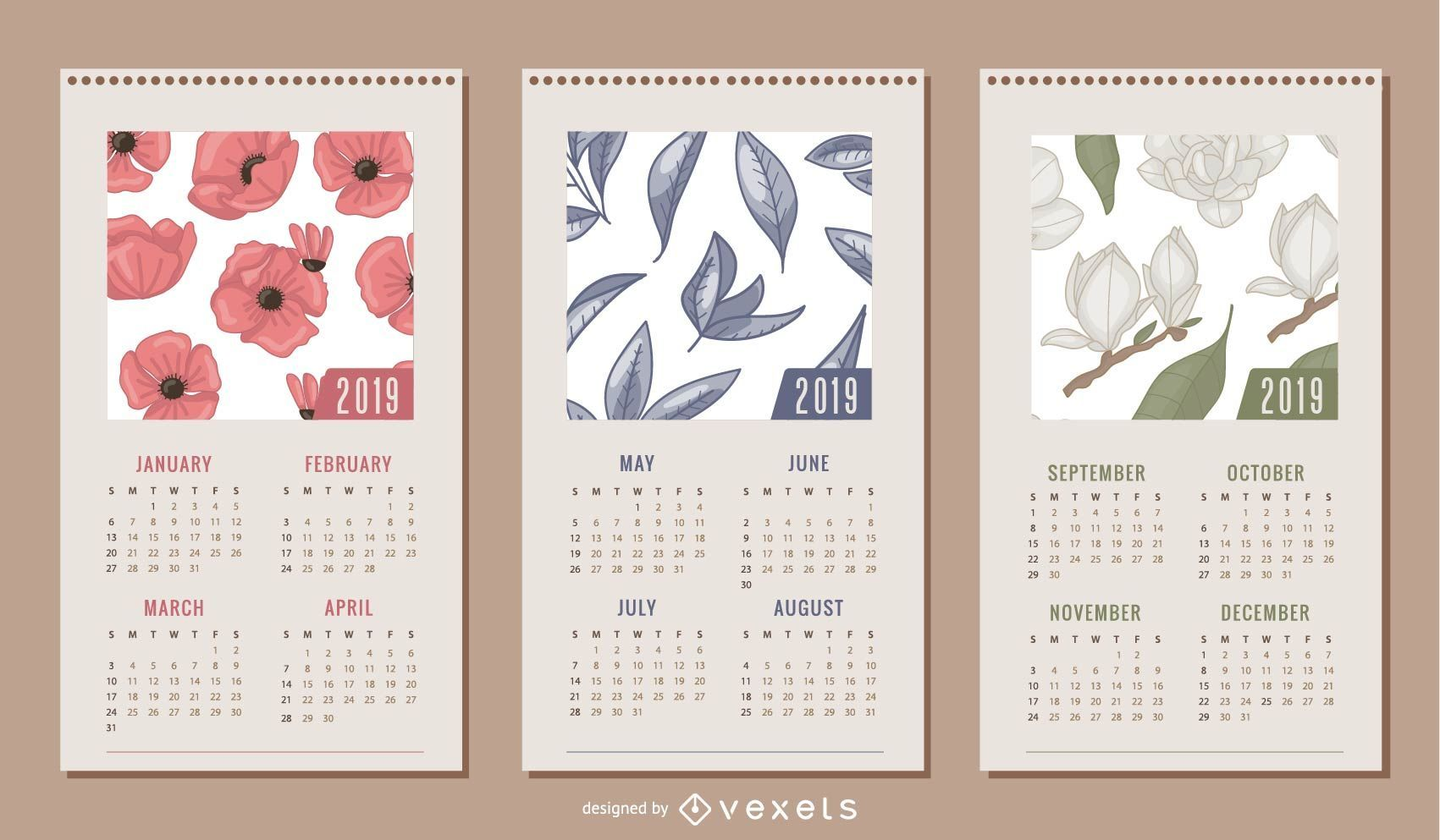 Diseño de calendario floral