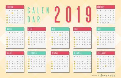 Diseño de calendario simple rojo y verde