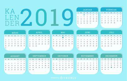 Diseño alemán Kalendar 2019