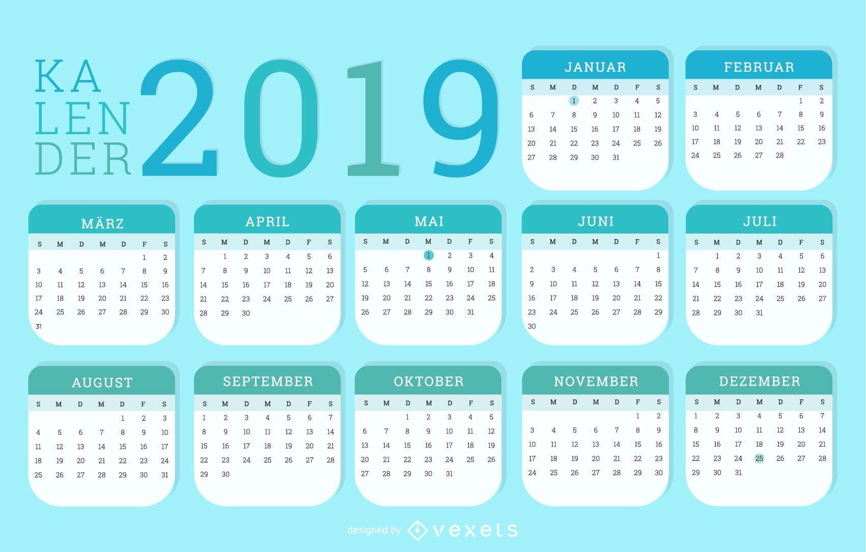 Diseño de calendario alemán 2019