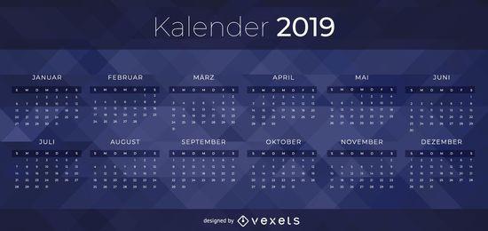 Design de calendário alemão escuro de 2019