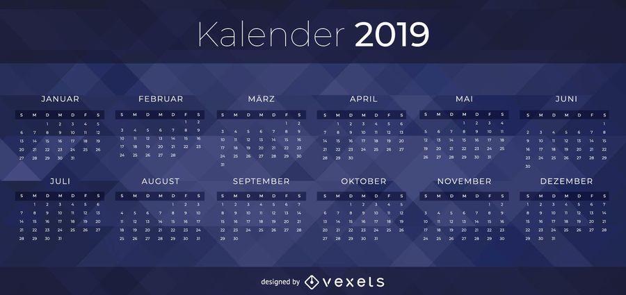 Projeto escuro do calendário de 2019 alemães