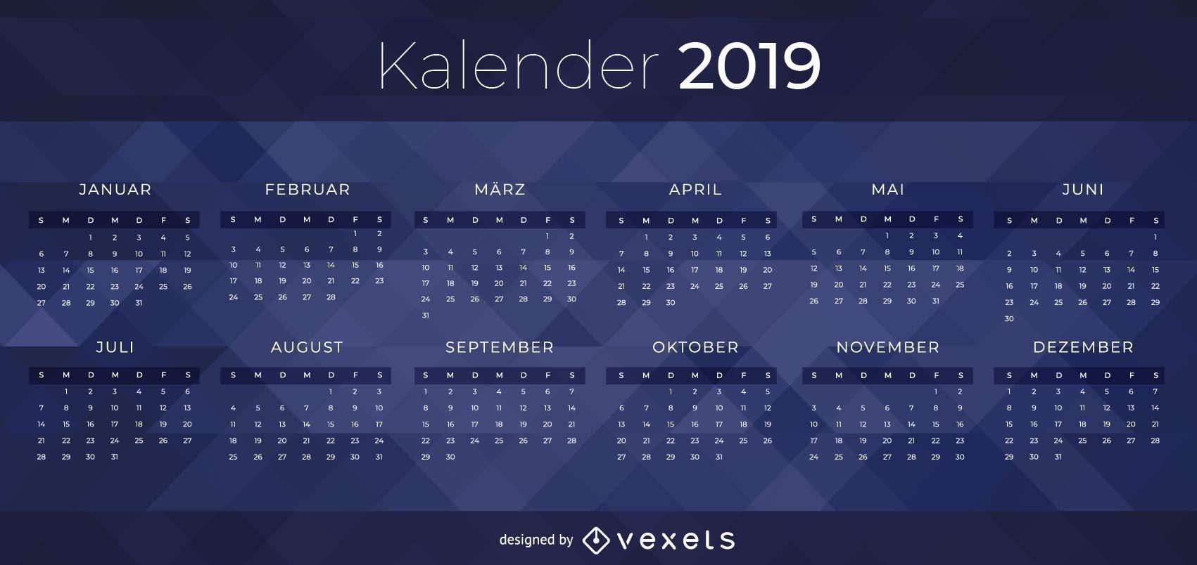 Diseño de calendario alemán oscuro 2019
