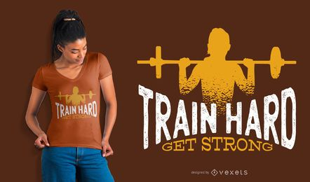 O trem duro obtem o projeto forte do t-shirt