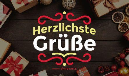 Herzliche Gr e saudação Lettering