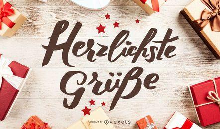 Herzlichste Grüße German New Year Lettering
