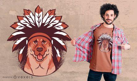 Diseño de camiseta de perro tribal