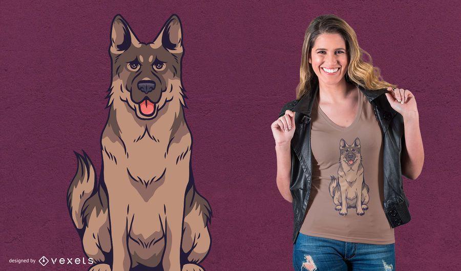 Design do t-shirt do cão de pastor alemão