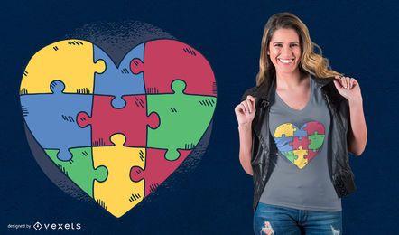 Design de t-shirt de quebra-cabeça de coração de autismo