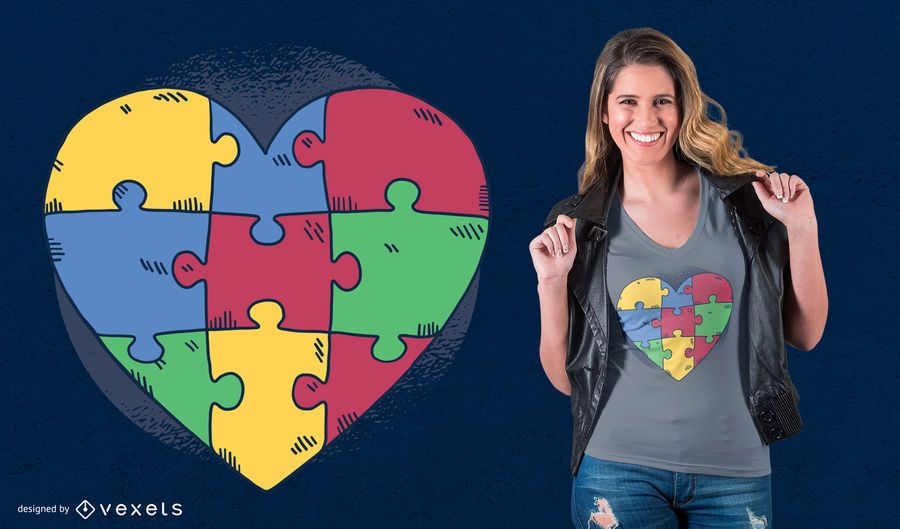 Heart Puzzle T-Shirt Design