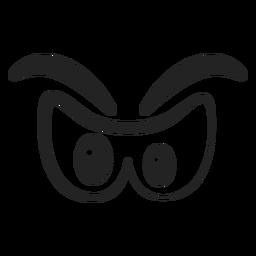 Desenhos animados de olhos emoticon com raiva