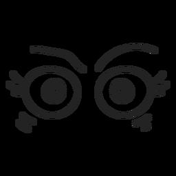 Zangado, emoticon feminino, olhos