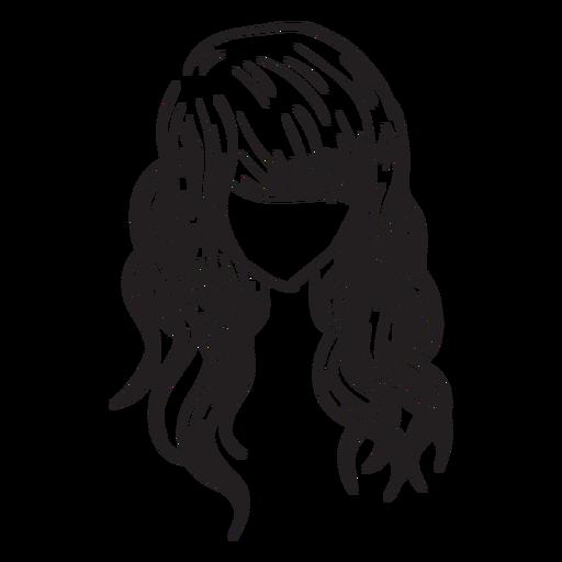 Beach waves hair hand drawn Transparent PNG