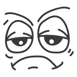 Desenho de rosto de emoticon entediado