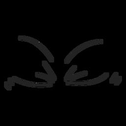 Olhos de emoticon fechados em quadrinhos