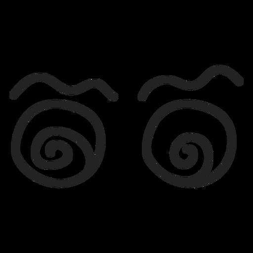 Komische schwindelerregende Emoticon-Augen Transparent PNG