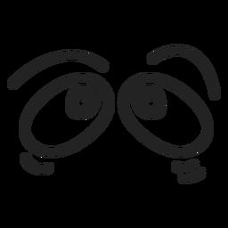 Ojos cómicos asustados de emoticon.