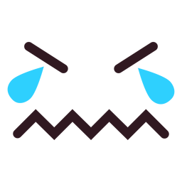 Weinen Emoticon Gesicht flach