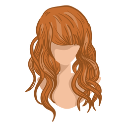 Curly woman hair cartoon