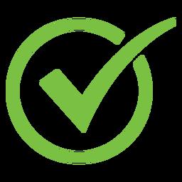 Ícone de círculo de marca de seleção curvo