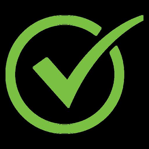 Icono de círculo de marca de verificación curvo
