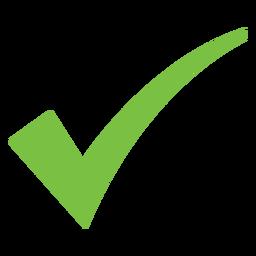 Ícone de marca de seleção curvo