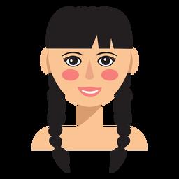 Doble trenzas mujer morena avatar