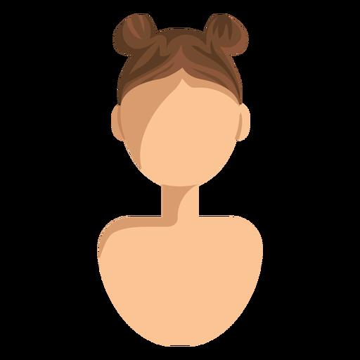 Avatar de mujer de pelo de bollos dobles Transparent PNG