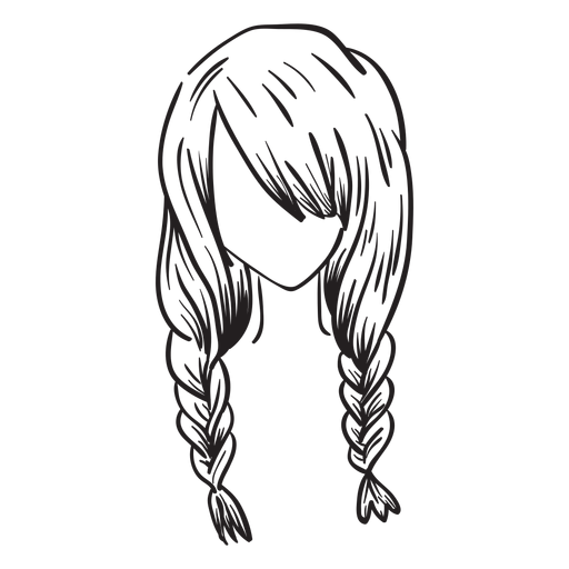 Double french braids hair hand drawn Transparent PNG