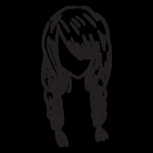 Mão de cabelo duplo tranças francês desenhada Transparent PNG